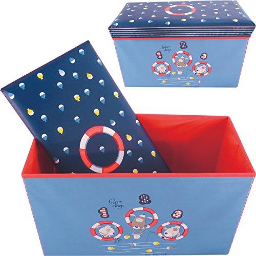 Bieco Aufbewahrungsbox Staubox und Sitzbank mit Deckel 60 x 30 cm Matrosen Hunde