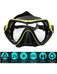 PluieSoleil Maschera da Sub Professionale Vetro Temperato Antiappannamento per visibilità cristallina (Giallo)
