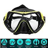 Maschera da Sub Professionale PLUIESOLEIl Vetro Temperato Antiappannamento per visibilità cristallina (giallo)