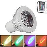 GU10 3W LED RGB Lampe Birne SMD LEDs LED farbwechsel Licht Leuchtmittel mit IR-Fernbedienung (180lm, AC 85V - 265V, 49 x 60mm) - multicolor dimmbar inklusive Infrarot - Ferbedienung