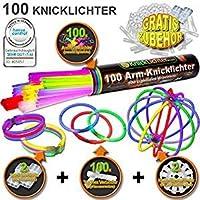 KnickLichter.com 100 bracelets lumineux fluo 7-COULEURS, note du testeur : 1,4 TRÈS BIEN, kit complet incluant connecteurs TopFlex x 100, connecteurs triples x 2 et connecteurs circulaires x 2