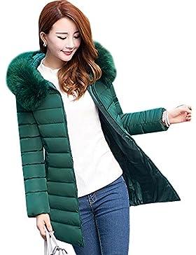 Chaqueta Largas Abrigo de Invierno Parka Con Capucha Para Espesar Cálido Invierno Mujer Verde oscuro 5XL