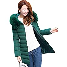 Chaqueta Largas Abrigo de Invierno Parka Con Capucha Para Espesar Cálido Invierno Mujer Verde oscuro XXL