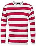 T Shirt Camicia da Uomo Mariner Maglietta a Righe Tshirt Manica Lunga Stretch Collo Tondo Taglia M Rosso 4#
