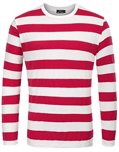 Camiseta para Hombre, Manga Larga, Cuello Redondo clásico, Talla Casual, Rojo Grueso