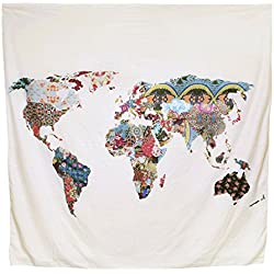 Arfbear World Map Tapestry, tapices de pared amarillo púrpura acuarela naturaleza gran manteles pared para el dormitorio Decoración para el hogar 59 * 59 inches