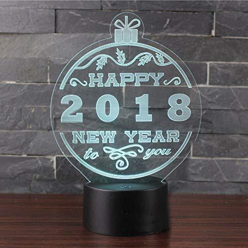 LXXYD 3D Led Illusion Lichter Frohes Neues Jahr Nachtlichter Optische Nachttische Nachtlichter Beleuchtung Kinderlichter Schlafbeleuchtung 7 Farben Usb Kabel Dekoration Geschenk Tischlampe