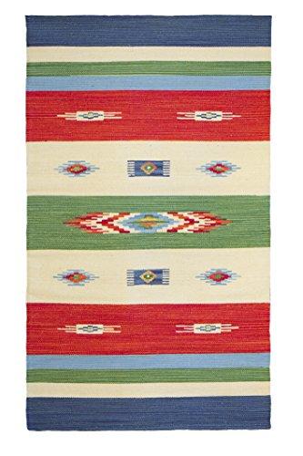 Jute & Co Kilim - Alfombra de algodón tejida a mano (90 x 150 cm), multicolor