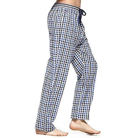 Hommes Pantalon de Pyjama en Coton Carreaux Bas de Pyjama Vêtement de Nuit Confortable Doux Léger Détente Pantalon (M, Multicolore)