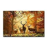 Braun Art Wand Bild deer in Herbst Wald Bilder Drucke auf Leinwand Tier der Decor Öl für Home Moderne Dekoration Print