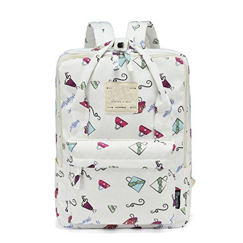 FZHLY Sacchetto Di Spalla Della Nuova Tela Di Canapa Fashion Backpack Di Campus Del Freshman,Beige White