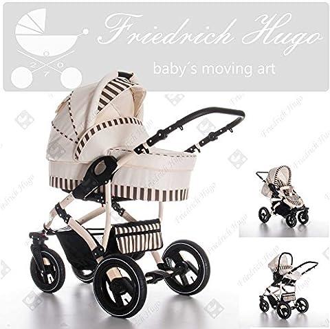 Friedrich Hugo | Modell Monaco | 3 in 1 Kombikinderwagen | Kinderwagen, Buggy, Autositz Caroline