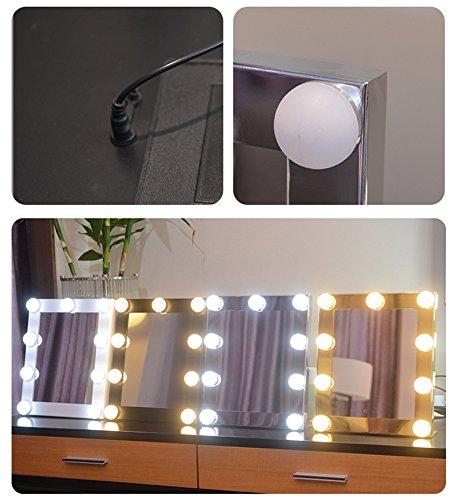Schminkspiegel TOUCH Bildschirm mit 9Big-LED-Leuchtmittel Beleuchtete Spiegel Adjustbale Helligkeit - weiß - 4