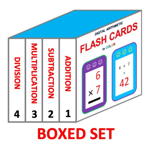 Digital Arithmetic Flash Cards (Boxed Set: 4 Books in 1): Addition, Subtraction, Multiplication, and Division (English Edition) -