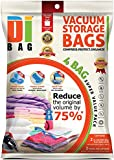 DIBAG ®- Pack of 4 - 2 XXL Vacuum Storage Bag (100×80 cm) with Suction/Valve + 2 Large Roll-Up Travel Bag (57×45 cm) Without Suction or Valve.