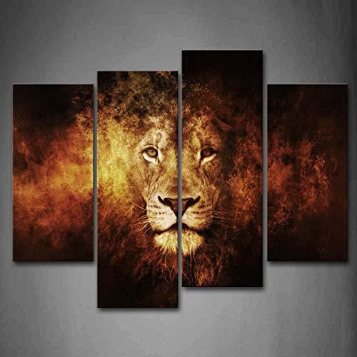4 Panels gerahmte Wandkunst Bilder Lion Portrait Leinwand drucken Moderne Tierposter für Wohnzimmer Dekor gerahmt - 40x80x2 40x100x2 Portrait Panel