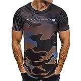 Beikoard Herren T-Shirt Camouflage Drucken Casual Tee Short Sleeve T-Stück Rundhals Sommer Tops Bluse Fitness Tops (Braun, L)
