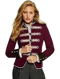 Chaqueta Blazer de Mujer Granate Detalles Kaki 100% Hecha en España Edicion  Limitada 645bb455b2a30