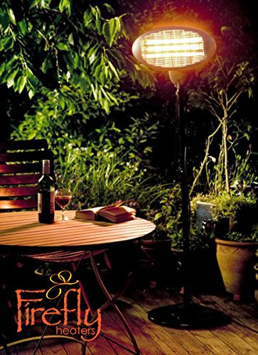 Set of 2 Firefly 2kW Outdoor Freestanding Electric Quartz Bulb Garden Patio Heaters – 3 Power Settings