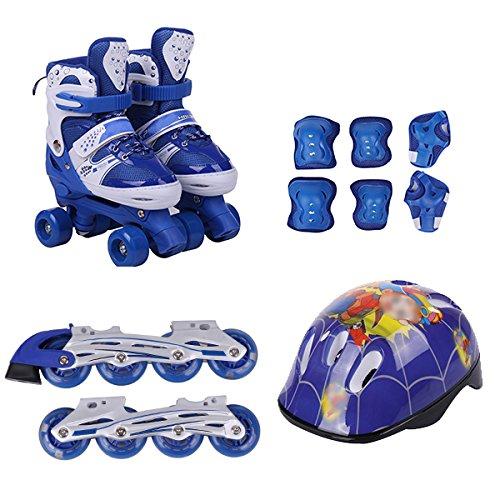 ZCRFY Rollschuhe Kinder Zweireihige Inline Skates 2 in 1 Verstellbare Training Roller Skates Set 4 Runde Rollerblades Für Anfänger Kleinkinder Jungen Mädchen Schlittschuhe Set,Blue-M