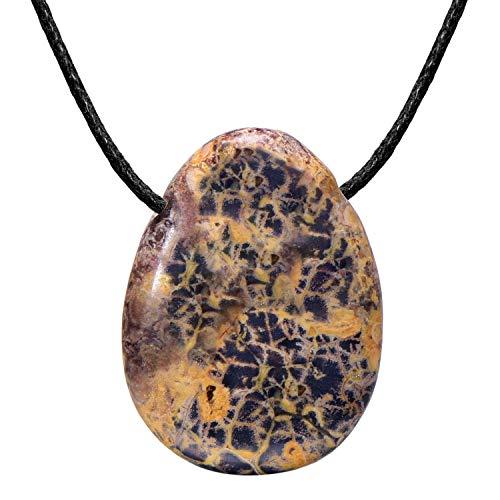 Morella collane da donna 80 cm con pendenti di gemma pietre preziose a forma di goccia diaspro leopardo in sacchetto di velluto