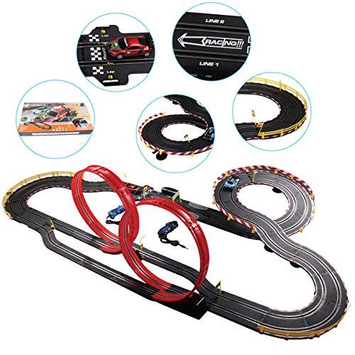 deAO Top Turbo Pista de Carreras Set 1:34 Coches Slot - Dos Montajes, Dos Velocidades para Principiante y Avanzado (9 Metros)