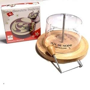 Komplett Set Käsehobel Choco Roulette Pistazie Haube mit Aufdruck Tete de Moine