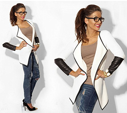 ZEARO Damen Strickjacke Strickwaren Kunstleder Splicing Cardigan Lange Mantel Oberbekleidung Weiß