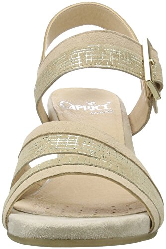 Caprice 28208, Sandali con Zeppa Donna Beige (Beige Comb)