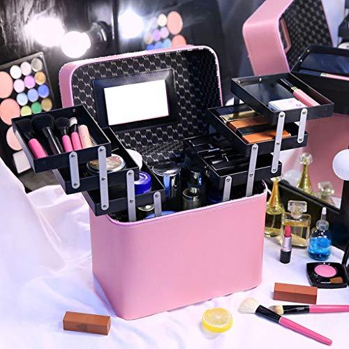 Makeup Organizer, Tragbar Grosse Kapazität Kosmetiktasche Multifunktion Kleine Reise Kosmetische Aufbewahrungsbox (Color : Pink)