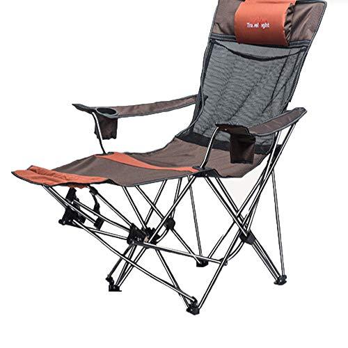Deluxe Stuhl, Tragetasche (Tragbarer Leichter faltender Strand-Stuhl-justierbare Höhe, Deluxe aufgefülltes übergroßes Hochleistungs Kapazität kampierender Strand lendenrückenstütze, Brown)