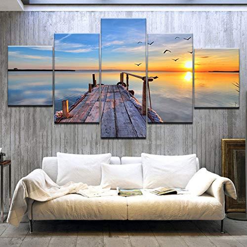 QWERGLL Leinwand mit 5 Feldern Brücke Unter Sonnenaufgang Große 5 Panels Landschaft Wand Poster Leinwand Kunst Malerei Für Zuhause Wohnzimmer Dekoration -