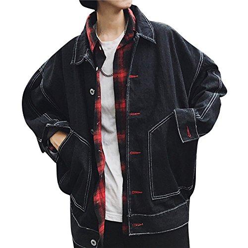 Jeansjacke Herren Oversize Denim Jacket Mantel Casual Langarm Übergangsjacken Jäckchen Schwarz XL