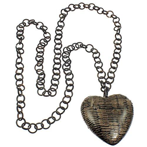Unique faite à la main Naturel véritable Corne de Buffle Grosse Large surdimensionné Pendentif cœur très long collier à maillons ronds