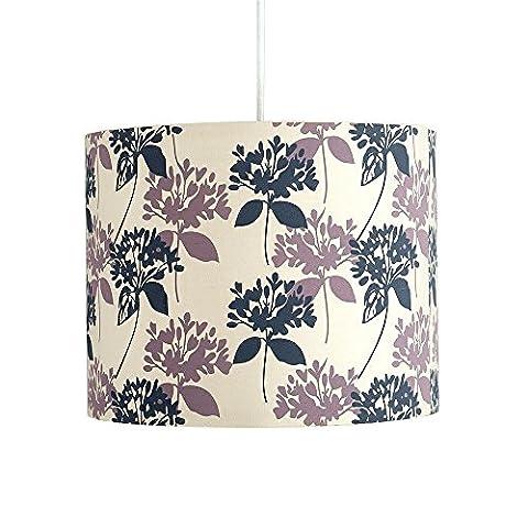 § § Lampenschirm für Hängeleuchte 'Roller' Modernes Design–Trommel. Finish aus Stoff verziert mit Blumen/Lys in grau und in violett. Elektrisches Kabel non-fourni