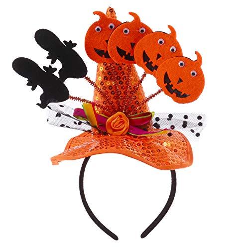Amosfun Halloween Hexenhut Hexe Kürbis Hut süße Schleife Knoten Hut Party Stirnbänder Halloween Haarschmuck für Halloween Party Dekorationen (Orange)