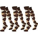 3 Paar Kniestrümpfe für Teenager und Damen im Karo Design