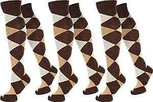3 Paar Kniestrümpfe für Teenager und Damen im Karo Design Farbe A-Karo/Braun/Beige Größe 35-38