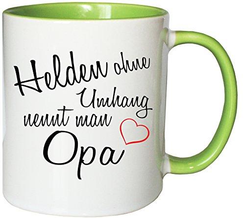 Mister Merchandise Kaffeebecher Tasse Helden ohne Umhang nennt man Opa Opi Opa Großvater Vatertag Geschenk alter Teetasse Becher Weiß-Grün