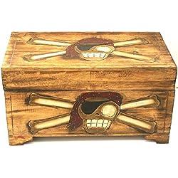 Cofre pirata de madera con diseño de calavera, 60x 33cm.