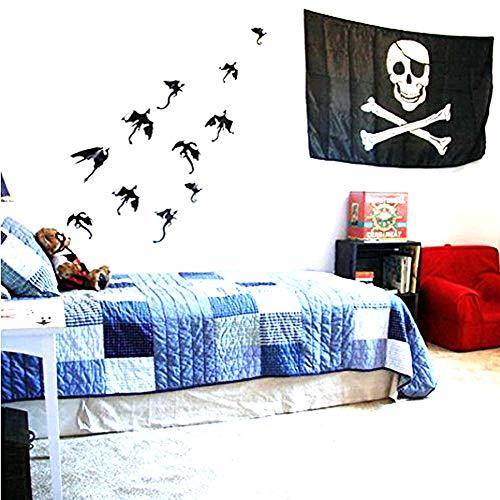 3D DIY PVC Drachen Wandtattoo Aufkleber Halloween Home Fensterdekoration Cool 7 - schwarz