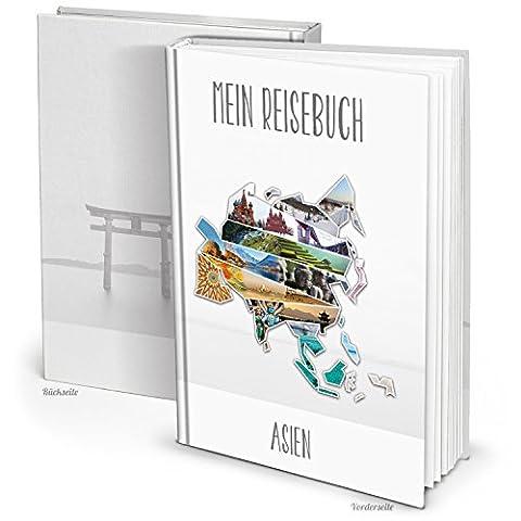 Stylisches XXL Kontinent ASIEN Reisebuch Reisetagebuch Notizbuch mit 164 leeren blanko Seiten DIN A4 zum Selberschreiben, Bilder einkleben, Reiseerlebnisse schreiben. Geschenk Weihnachten, Geburtstag.