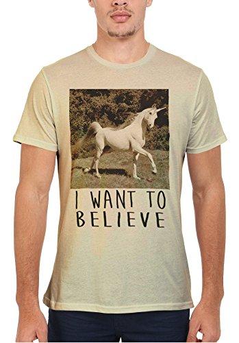 I Want To Believe Unicorn Crazy Men Women Damen Herren Unisex Top T Shirt Sand(Cream)