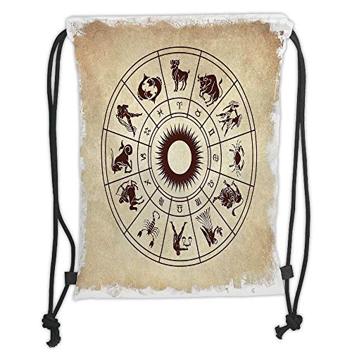 Drawstring Backpacks Bags,Zodiac Decor,Wheel of Horoscope Icons on Distressed Backdrop Cosmos Occult Print Artwork,Brown Beige Soft Satin,5 Liter Capacity,Adjustable String Closure - Distressed Hobo