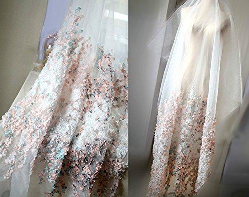 3D Floral Chiffon Stoff 149,9cm Breite für Hochzeit Kleid Dancing Kostüm Tischdekoration Craft...