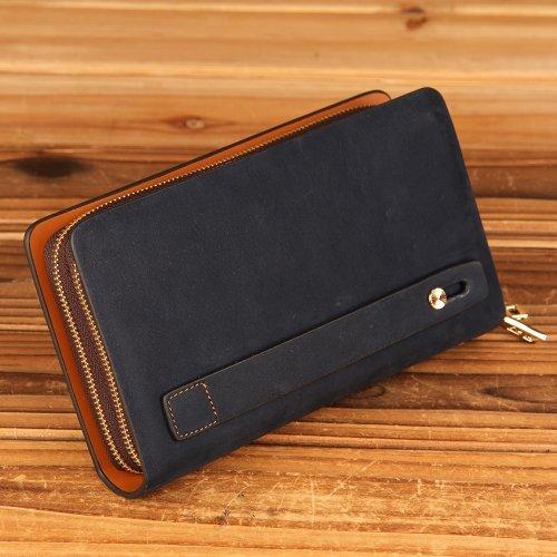 Oneworld Herren Rindleder Handyetui Universalbörse Geldbörse Börse Geldbeutel Geldtasche Portemonnaie 12.5x21.5x4.5cm(BxHxT) Gelb Dunkel Blau