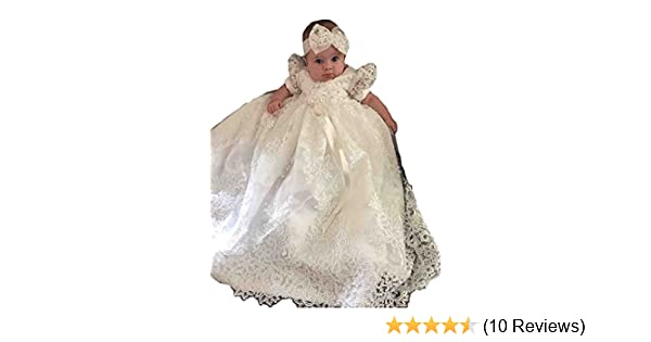 AMG department Baby Girls Bowknot White and Ivory Christening Gowns Long Ivory
