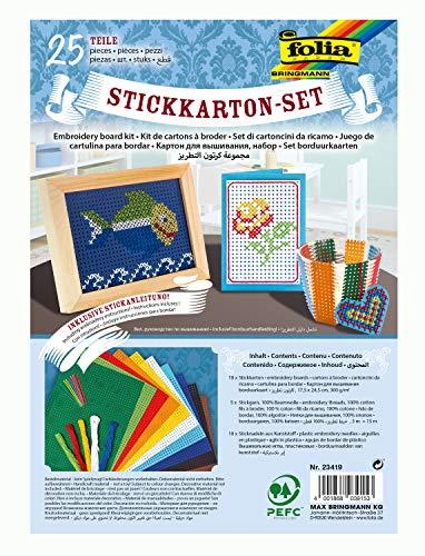 folia 23419 - Stickkarton - Set, 25 Teile, mit Stickkarton, Sticknadeln, Stickgarn und Anleitung -