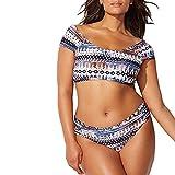 Voberry Women's Swimwear Bikini Print Fat Po XL Split Swimsuit Plaid Floral Bikini Black,Blue