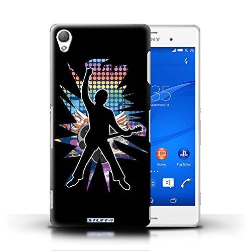 Kobalt® Imprimé Etui / Coque pour Sony Xperia Z3 / Saut Blanc conception / Série Rock Star Pose Windmill Noir